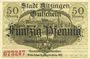 Banknoten Kitzingen. Stadt. Billet. 50 pf oct 1918