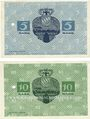 Banknoten Kitzingen. Stadt. Billets. 5 mark, 10 mark 8.11.1918. Annulation par perforation