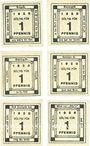 Banknoten Kitzingen, Städtische Sparkasse, 1 pf 1920, type avec filigrane, 6 ex avec légendes différentes