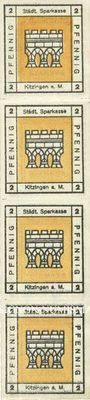 Banknoten Kitzingen, Städtische Sparkasse, bande de 4 billets, 2 pf 1920, type sans filigrane