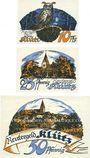Banknoten Klütz. Gemeinde. Série de 3 billets. 10 pf, 25 pf, 50 pf (1922). Reutergeld