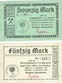 Banknoten Knurow (Pologne). Königliche Berginspektion. Billets. 20 mk, 50 mk 12.11.1918