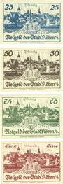 Banknoten Köben (Chobienia, Pologne). Stadt. Billet. 25 pf, 50 pf, 75 pf, 1 mark 24.12.1920