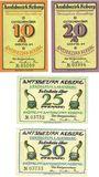 Banknoten Koberg. Amtsbezirk. Série de 4 billets. 10 pf, 20 pf, 25 pf, 50 pf (1921)