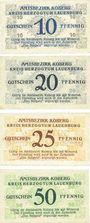 Banknoten Koberg. Amtsbezirk. Série de 4 billets. 10 pf, 20 pf, 25 pf, 50 pf 3.3.1921