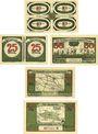 Banknoten Königsaue. Gemeinde. Billets. 40 (4x10), 50 (2x25), 50, 75, 100 pfennig