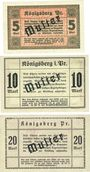 Banknoten Königsberg i. Pr. (Kaliningrad, Russie). Stadt. Série de 3 billets. 5 mk, 10 mk, 20 mk 26.10.1918