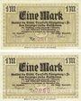 Banknoten Königsberg in Franken. Stadt. Billet. 1 mark novembre 1918 (2ex)