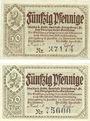 Banknoten Königsberg in Franken. Stadt und Städtische Sparkasse. Billets. 50 pf nov 1918 (2ex)