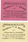 Banknoten Konstadt (Wolczyn, Pologne). Stadt. Billets. 7 pf, 14 pf 10.4.1918
