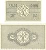 Banknoten Körlin a. Persante (Karlin, Pologne). Stadt. Billets. 10 pf, 50 pf 1.5.1920