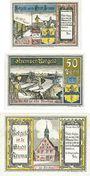 Banknoten Krempe. Stadt. Série de 3 billets. 25 pf, 50 pf, 100 pf déc. 1920