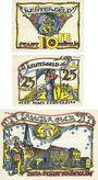 Banknoten Kröpelin. Stadt. Billets. 10 pf, 25 pf, 50 pf (1922), Reutergeld