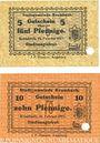 Banknoten Krumbach. Stadt. Billets. 5 pf, 10 pf 15.2.1917, annulation par perforation