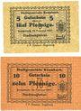 Banknoten Krumbach. Stadt. Billets. 5 pf, 10 pf 15.2.1917