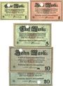 Banknoten Kulmbach. Spinnerei A. G. Billets. 1, 2, 5, 10, 20 mark n.d. - 1.2.1919, annulation par perforation