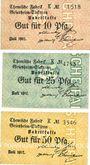 Banknoten Küppersteg. Chemische Fabrik Griesheim - Elektron. Série de 3 billets. 10, 25, 50 pf juillet 1917