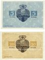 Banknoten Kusel. Distriktgemeinde. Billets. 5 mark, 20 mark 8.11.1918
