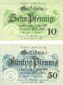 Banknoten Ladenburg. Stadt. Série de 2 billets. 10 pf, 50 pf 20.4.1919
