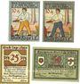 Banknoten Lage. Stadt. Billets. 10 pf (2ex), 25 pf, 50 pf février 1921