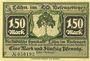 Banknoten Lähn (Wlen, Pologne). Städtische Sparkasse. Billet. 1,50 mark (1922), avec signature, sans date