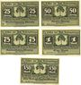 Banknoten Lähn (Wlen, Pologne). Städtische Sparkasse. Billets. 25 pf, 50 pf, 75 pf, 1 mk, 1,50 mk (1922)