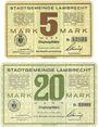 Banknoten Lambrecht. Stadt. Billets. 5 mark, 20 mark 15.11.1918