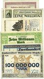 Banknoten Landau. Stadt. Billets. 1 million mk 1.8.1923, 1, 5, 10, 200 millions mk 1.9.1923, 100 millions ...