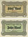 Banknoten Landau. Stadt. Billets. 5 mark, 10 mark 21.10.1918, annulation par perforation