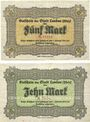 Banknoten Landau. Stadt. Billets. 5 mark, 10 mark 21.10.1918