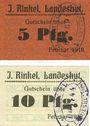 Banknoten Landeshut (Kamienna Gora, Pologne), J. Rinkel, billets, 5 pf, 10 pf février 1918
