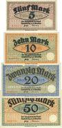 Banknoten Landsberg a. d. Warthe, Stadt, série de 4 billets, 5 mark, 10 mark, 20 mark, 50 mark