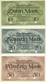 Banknoten Landsberg am Lech, Stadt, billets, 10 mark, 20 mark, 50 mark avril 1919