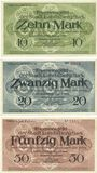 Banknoten Landsberg am Lech, Stadt, billets, 10 mark, 20 mark, 50 mark avril 1919