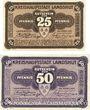Banknoten Landshut. Stadt. Billets. 25 pf, 50 pf 29.3.1917