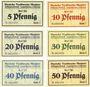 Banknoten Langenbielau (Bielawa, Pologne) Mautner, Deutsche Textilwerke A.G., billets 5, 10, 20, 30, 40, 50 pf