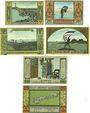 Banknoten Langeness-Nordmarsch, Hallig, billets, 30, 30, 50, 75 pf, 1 mk, 2 mk 1.9.1921