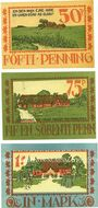 Banknoten Langenhorn, Gemeinde, série de 3 billets, 50 pf, 75 pf, 1 mark 1921 (1922)