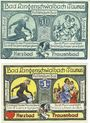 Banknoten Langenschwalbach, Stadt, billets, 50 pf, 1 mark 1.12.1920