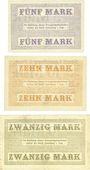 Banknoten Lauenburg i. P. (Lebork, Pologne), Stadt, série de 3 billets, 5, 10, 20 mark 15.11.1918