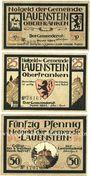 Banknoten Lauenstein. Gemeinde. Série de 3 billets. 10 pf, 25 pf juin 1921, 50 pf n. d.