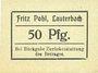 Banknoten Lauterbach (Gomorow, Pologne), Fritz Pohl, billet, 50 pf (1918?)