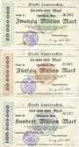Banknoten Lauterecken, Stadt, billets, 20, 50, 100 millions mark 25.9.1923
