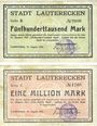 Banknoten Lauterecken, Stadt, billets, 500 000, 1 million mark 15.8.1923