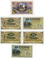 Banknoten Lehesten, Stadt, billets, 50 pf (1919), 25 pf (1920) (3ex), 50 pf (1920) (2ex)
