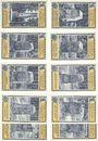 Banknoten Lehesten, Stadt, série de 10 billets, 50 pf juin 1921 (10 ex)