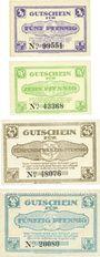 Banknoten Lehrte, Stadt, série de 4 billets, 5, 10, 25, 50 pf 1.1.1921