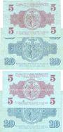 Banknoten Leipzig-Land, Stadt, billets, 5 mark (2ex), 20 mark (2ex) 12.10.1918