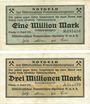 Banknoten Leipzig, Mitteldeutsches Braunkohlen - Syndicat G.m.b.H., billets, 1, 3 millions mark août 1923