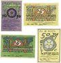 Banknoten Lemgo, Stadt, billets, 10 pf, 25 pf (2ex), 50 pf 25.5.1921